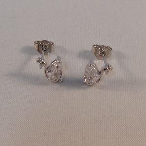 18K White Gold Zircon Swan Bird Stud Earrings GF